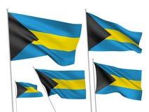 Drapeaux de vecteur des Bahamas Photos stock