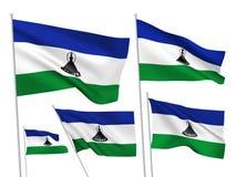 Drapeaux de vecteur du Lesotho Images libres de droits