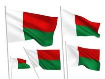 Drapeaux de vecteur du Madagascar Images libres de droits