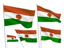 Drapeaux de vecteur du Niger Photographie stock libre de droits