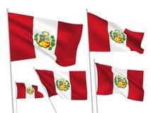 Drapeaux de vecteur du Pérou Photos libres de droits