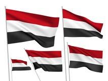 Drapeaux de vecteur du Yémen Photographie stock libre de droits