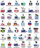 Drapeaux de vecteur et cartes des pays nord-américains illustration de vecteur