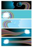 Drapeaux de Web de vecteur avec les nuages et l'arc-en-ciel Images libres de droits