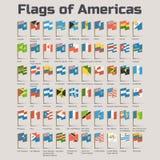 Drapeaux des Amériques dans le style de bande dessinée Photos libres de droits