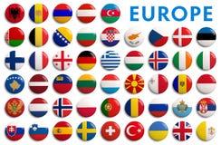 Drapeaux des comtés de l'Europe - 3D réaliste Photos libres de droits