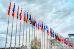Drapeaux des Etats membres du Conseil de l'Europe à Strasbourg, France Image stock