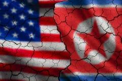 Drapeaux des Etats-Unis et de la Corée du Nord Image stock