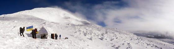 Drapeaux des grimpeurs de l'Ukraine Photos stock