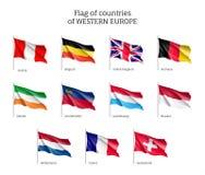Drapeaux des pays d'Europe occidentale illustration stock