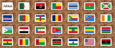 Drapeaux des pays de l'Afrique dans la partie d'ordre alphabétique Photos stock