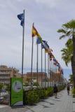 Drapeaux des pays du vol d'Union européenne dans des las Amériques de Playa dans Tenerife en dehors du parking de Palacio De Cong Photographie stock libre de droits