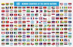 Drapeaux des pays membres des Nations Unies illustration de vecteur