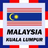 drapeaux, drapeau et manteau de bras de la Malaisie - Kuala Photographie stock libre de droits