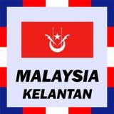 drapeaux, drapeau et manteau de bras de la Malaisie - le Kelantan Photographie stock libre de droits