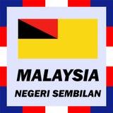 drapeaux, drapeau et manteau de bras de la Malaisie - le Negeri Photographie stock
