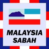 Drapeaux, drapeau et manteau de bras de la Malaisie - le Sabah Photo libre de droits