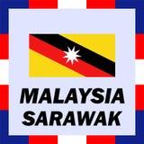 drapeaux, drapeau et manteau de bras de la Malaisie - le Sarawak Photos stock