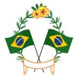 Drapeaux du Brésil sur la guirlande de laurier illustration stock