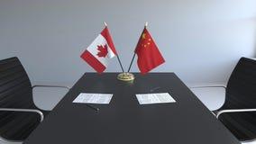 Drapeaux du Canada et de la Chine et papiers sur la table Négociations et signature d'un accord international 3D conceptuel illustration de vecteur