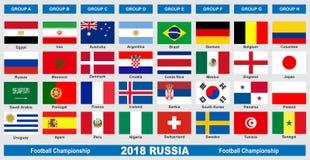 Drapeaux du championnat 2018 du football du monde illustration libre de droits