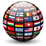 Drapeaux du globe du monde illustration de vecteur