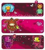 Drapeaux du jour de Valentine Image libre de droits