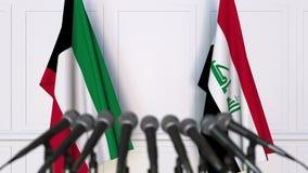 Drapeaux du Kowéit et de l'Irak à la conférence de presse internationale de réunion ou de négociations animation 3D clips vidéos