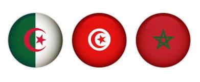 Drapeaux du Maroc, de l'Algérie et de la Tunisie illustration stock