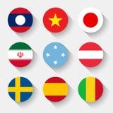 Drapeaux du monde, boutons ronds Images libres de droits