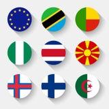 Drapeaux du monde, boutons ronds Photo libre de droits
