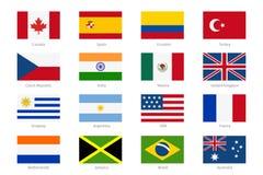Drapeaux du monde de vecteur dans le style plat illustration libre de droits