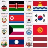 Les drapeaux et les capitaux du monde ont placé 12 illustration libre de droits
