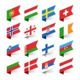 Drapeaux du monde, l'Europe Photos stock