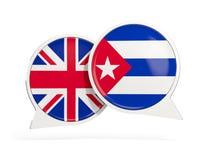 Drapeaux du R-U et du Cuba ? l'int?rieur des bulles de causerie illustration de vecteur