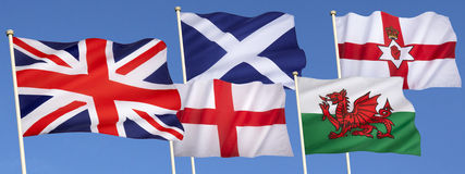 Drapeaux du Royaume-Uni de la Grande-Bretagne Photo stock