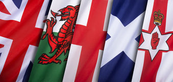 Drapeaux du Royaume-Uni de la Grande-Bretagne Photo libre de droits