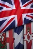 Drapeaux du Royaume-Uni de la Grande-Bretagne Photos libres de droits