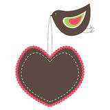 Drapeaux en forme de coeur roses avec l'oiseau. Images stock