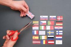 Drapeaux et drapeau européens de la Grande-Bretagne Photo stock