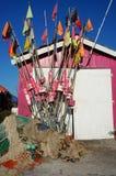 Drapeaux et filets de pêche Photographie stock libre de droits
