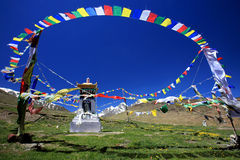 Drapeaux et stupa bouddhistes tibétains de prière sur le gisement de fleur sauvage dedans Images stock
