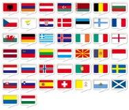 Drapeaux européens réglés Photo libre de droits