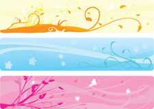 Drapeaux floraux illustration stock