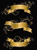 Drapeaux floraux d'or Images stock