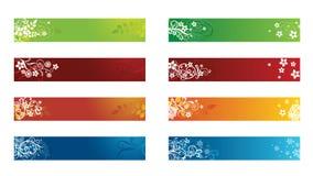 Drapeaux floraux saisonniers décoratifs Images libres de droits
