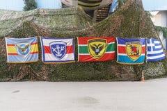 Drapeaux grecs de militaires d'armée Images libres de droits