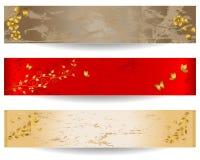 Drapeaux grunges avec les éléments floraux. Image stock