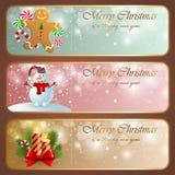 Drapeaux horizontaux de cru de Noël. illustration de vecteur
