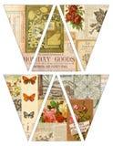Drapeaux imprimables de guirlande d'étamine de bannière de style de vintage de DIY avec de vieilles magazines collaged illustration de vecteur